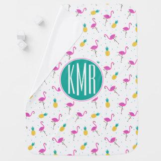 Neon Flamingos | Monogram Baby Blanket