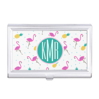 Neon Flamingos | Monogram Business Card Holder
