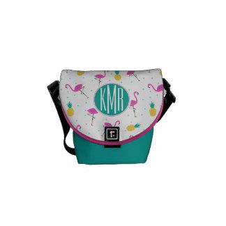 Neon Flamingos | Monogram Commuter Bag
