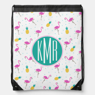 Neon Flamingos | Monogram Drawstring Bag