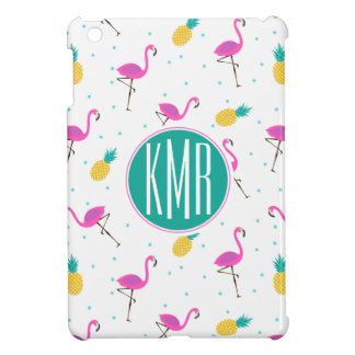 Neon Flamingos | Monogram iPad Mini Case