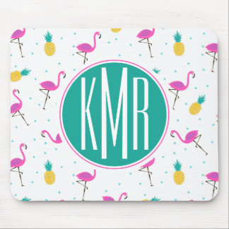 Neon Flamingos | Monogram Mouse Pad