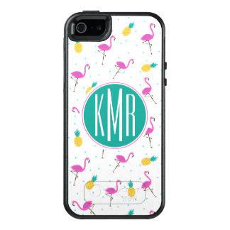 Neon Flamingos | Monogram OtterBox iPhone 5/5s/SE Case