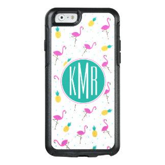 Neon Flamingos | Monogram OtterBox iPhone 6/6s Case