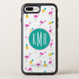 Neon Flamingos | Monogram OtterBox Symmetry iPhone 8 Plus/7 Plus Case