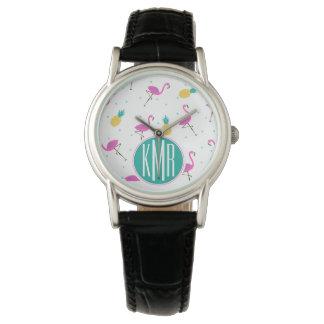 Neon Flamingos   Monogram Wrist Watches