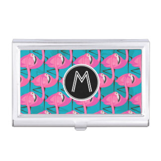 Neon Flamingos Two | Add Your Initial Business Card Holder
