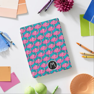 Neon Flamingos Two | Add Your Initial iPad Cover