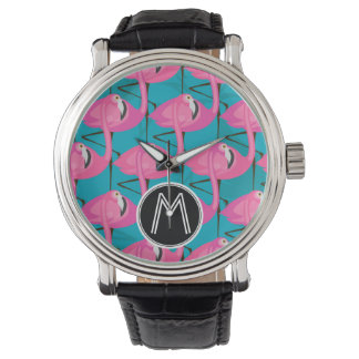 Neon Flamingos Two | Add Your Initial Wrist Watch