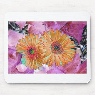 Neon floral print mouse pad