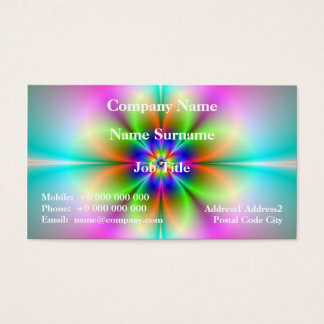 Neon Flower Fractal Business Card