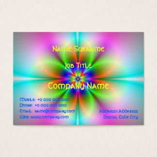 Neon Flower Fractal Chubby Business Card