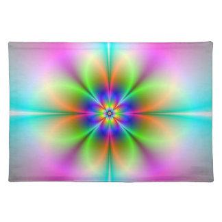 Neon Flower Fractal Placemats