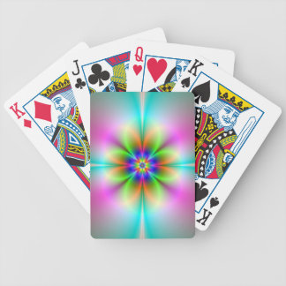 Neon Flower Fractal Playing Cards
