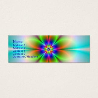 "Neon Flower Fractal Skinny, 3"" x 1"", 20 pack Mini Business Card"