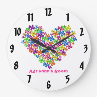 Neon Flower Heart Wall Clocks