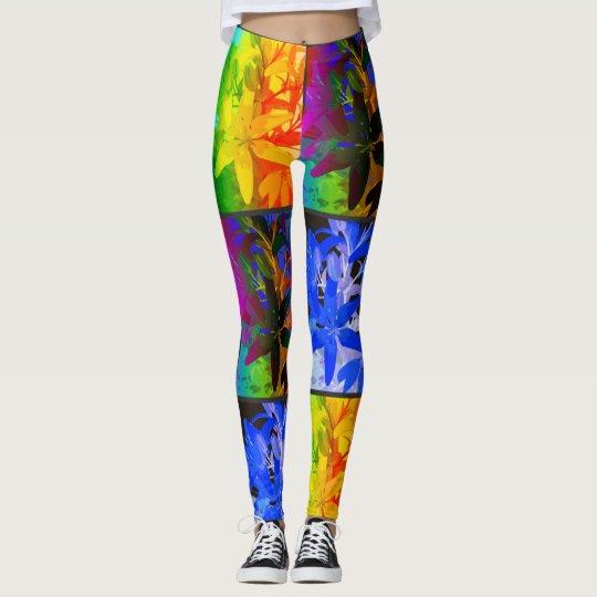Neon Flower Pattern Fashion Leggins Leggings