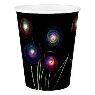 Neon Flowers Paper Cup