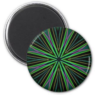 Neon Fluorescent Green Lavender Star Burst 6 Cm Round Magnet