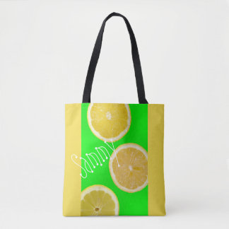 Neon Fluorescent Green Yellow Lemons Name Tote