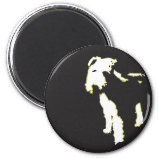 Neon fox terrier 6 cm round magnet