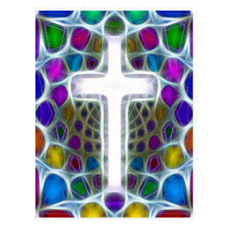 Neon Fractal Cross Postcard