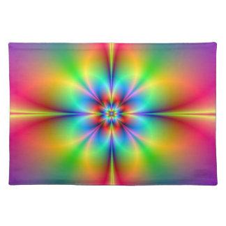 Neon Fractal Flower Placemats