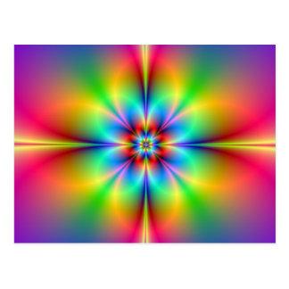 Neon Fractal Flower Postcard
