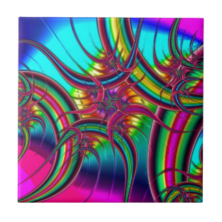 Neon Fractal Small Square Tile