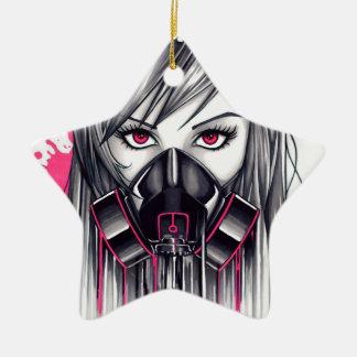 Neon Gas Mask Girl Christmas Ornament