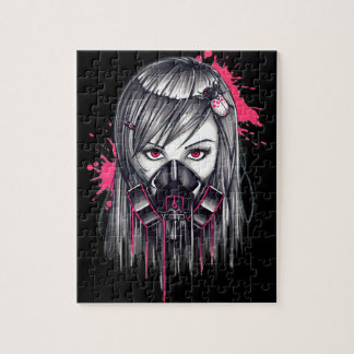 Neon Gas Mask Girl Jigsaw Puzzle