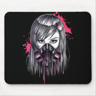 Neon Gas Mask Girl Mouse Mat