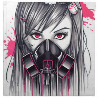 Neon Gas Mask Girl Napkin