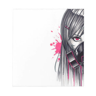 Neon Gas Mask Girl Notepad
