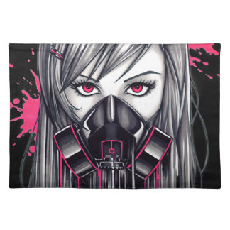 Neon Gas Mask Girl Placemat