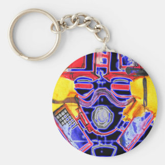 neon Gas Masked Soldier v2 Basic Round Button Key Ring