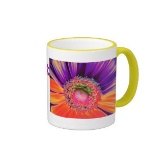 Neon Gerber Daisy Ringer Mug