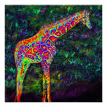 neon giraffe poster