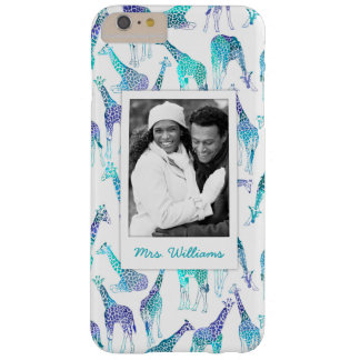 Neon Giraffes | Add Your Photo & Name Barely There iPhone 6 Plus Case