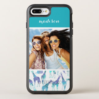 Neon Giraffes | Add Your Photo & Name OtterBox Symmetry iPhone 7 Plus Case