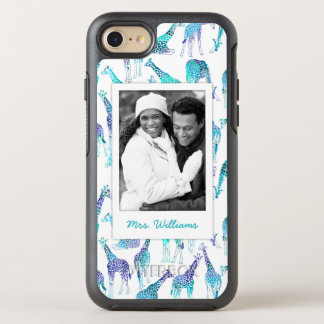 Neon Giraffes   Add Your Photo & Name OtterBox Symmetry iPhone 8/7 Case