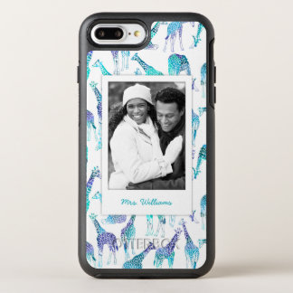 Neon Giraffes | Add Your Photo & Name OtterBox Symmetry iPhone 8 Plus/7 Plus Case