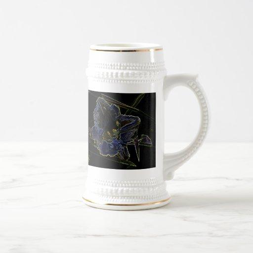 Neon Glow Daylily Flower with Glowing Edges Coffee Mug