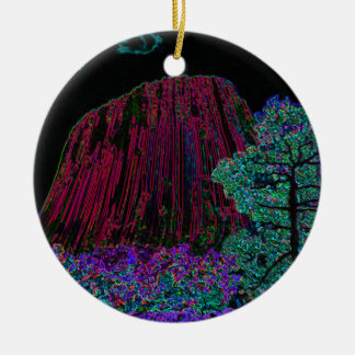 Neon Glow Devils Tower Christmas Ornament