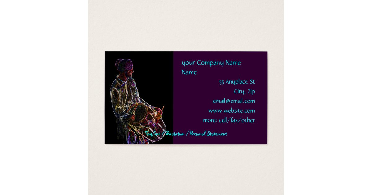 Neon Glow Dhol Drummer business card template | Zazzle.co.uk