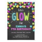 Neon Glow in the Dark Birthday invitation