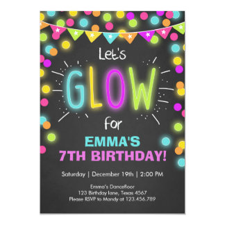 Neon Glow in the Dark Birthday invitation