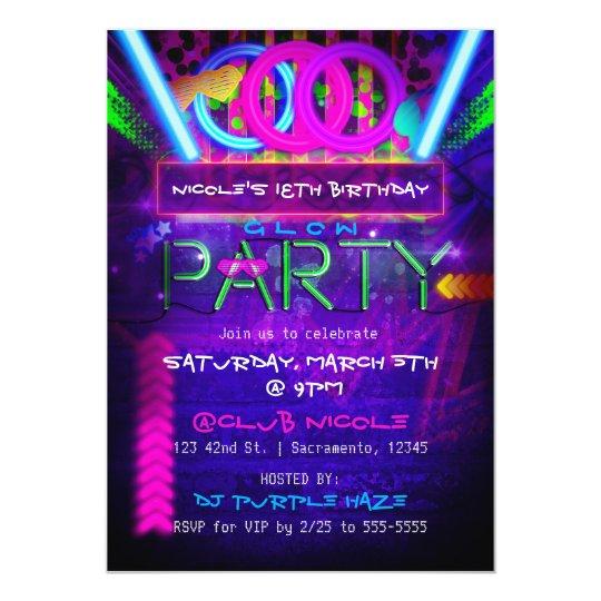 Neon Glow PARTY Birthday Club Event Invitations