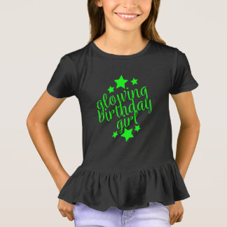 Neon Glow Party Birthday -  Girls Ruffle T-Shirt