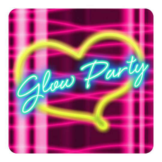 Neon GLOW PARTY Heart Birthday Party Invitation